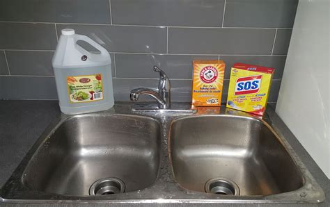 Cleaning Kitchen Sink With Baking Soda How To Clean Stainless Steel Sink Stains Naturally With Baking Soda Vinegar