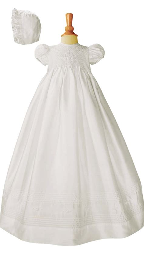 Handmade Christening Gowns - silk dupioni handmade christening gown w embroidery