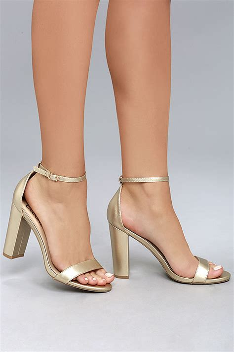 gold high heels with ankle lulus gold ankle heels 4 wrapped block heel