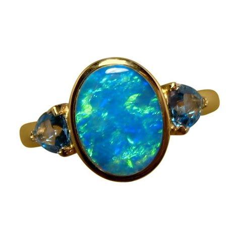 blue green opal blue green opal blue topaz ring 14k gold opal rings