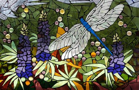 Metal Dragonfly Garden Art - mosaic stained glass lupins and dragonfly glass art by catherine van der woerd