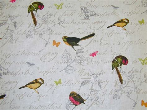 curtain fabric birds french garden birds script linen curtain fabric white 163 19