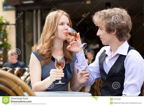 romantic couple drinking wine romantic couple drinking pink wine royalty free stock
