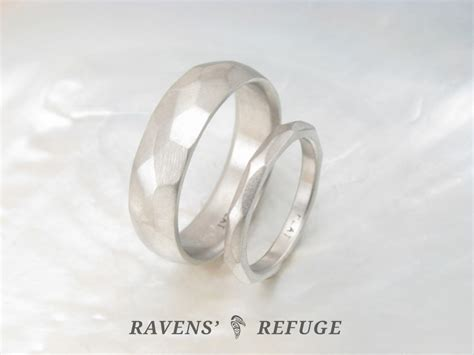 forged platinum wedding band set his and hers
