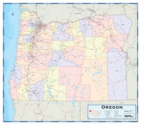 oregon map of counties oregon counties wall map maps