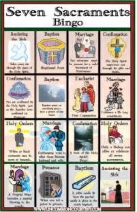 Cox Plans seven sacraments bingo game classroom resources and
