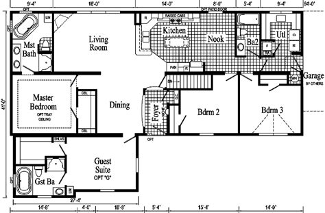 family floor plan the extended family ii modular home pennflex series standard as ranch style pennwest homes