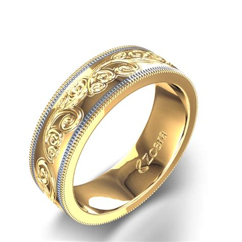 Two Toned Hand Engraved Wedding Ring in 14k Yellow & White Gold