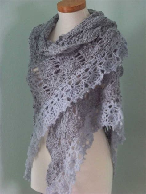free crochet pattern triangle wrap grey triangular shawl crochet pdf pattern