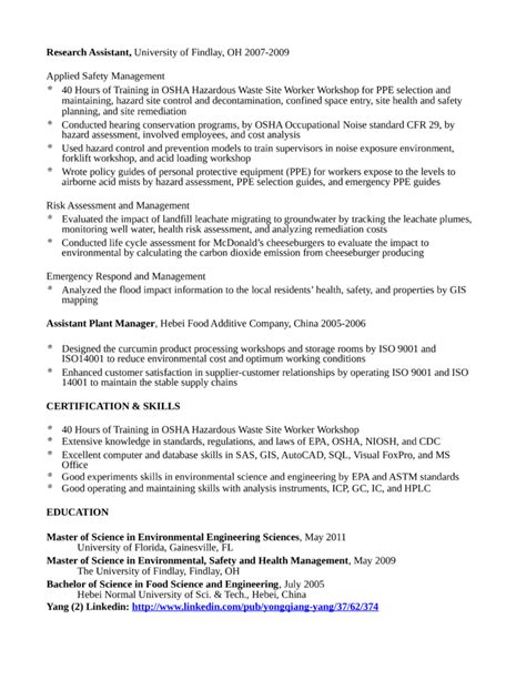 Safety Engineer Sle Resume by Sle Resume For Environmental Services 28 Images Environmental Services Manager Resume 28