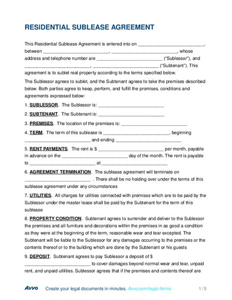 residential sublease agreement template free fill out a residential sublease agreement form for