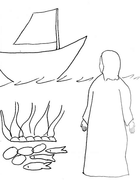 coloring pages jesus appears to the disciples bible story coloring page for risen jesus at the seashore