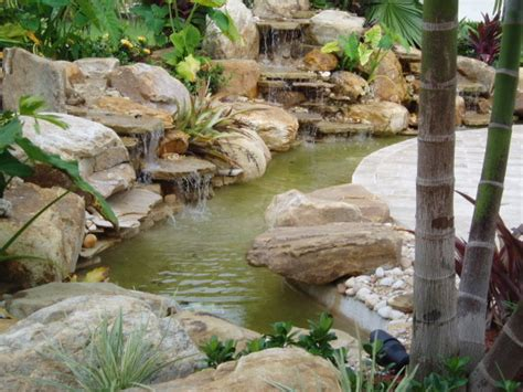 small waterfalls backyard small garden waterfalls tropical landscape miami