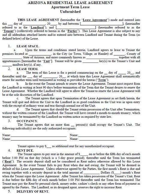 Arizona Residential Tenancy Lease Agreement Arizona Rental Agreement Arizona Residential Lease Agreement Template