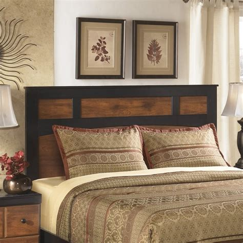 wooden headboards queen ashley aimwell wood full queen panel headboard in brown