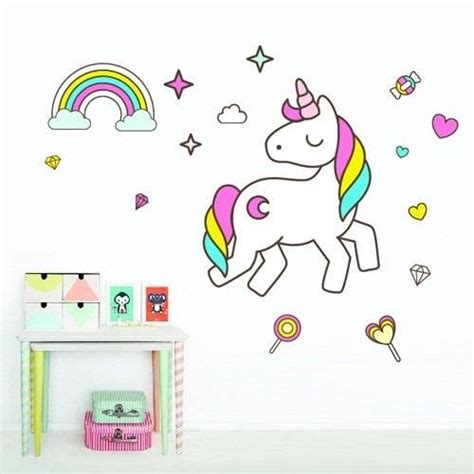 imagenes de unicornios y arcoiris vinilos decorativos unicornio arcoiris cuarto ni 241 a