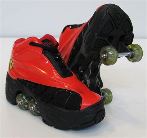 shoe with wheels kick roller skate shoes 4 wheels retractable bnib ebay