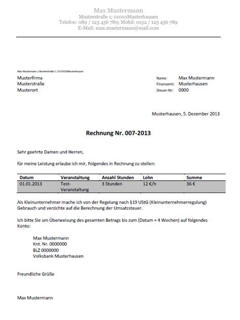 Muster Rechnung Gewerbe Abrechnung 252 Ber Gewerbeschein F 252 R Hostessen Promoter Etc