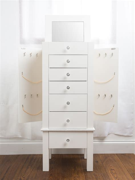 white mirrored jewelry armoire hannah jewelry armoire with mirror white hives and honey