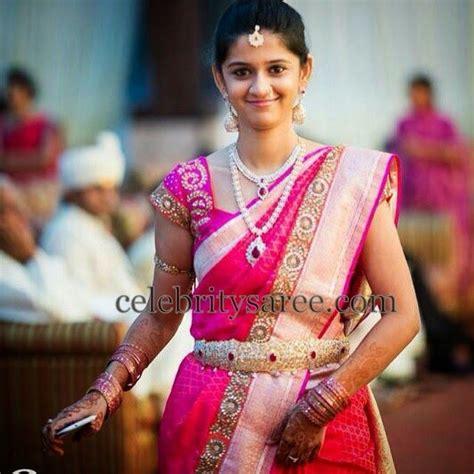 on pinterest saree blouse south indian bride and bridal sarees south indian bride in bright pink bharghavi kunam saree