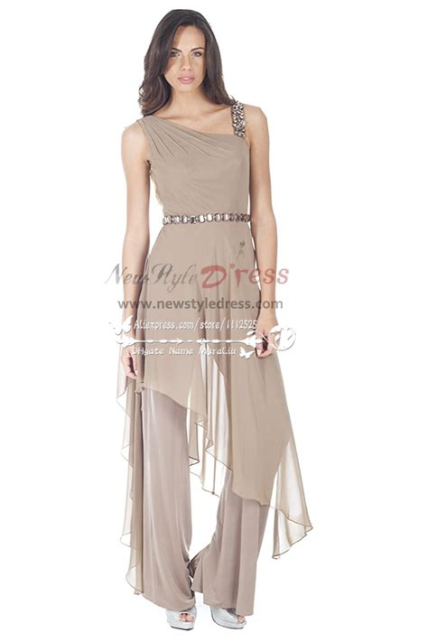 Jumpsuit Gray Donna fashion gray chiffon jumpsuit with for wedding