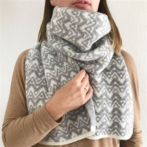 knitting pattern blanket scarf lambswool knitted blanket scarf with waves pattern by