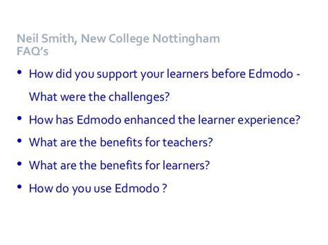 edmodo benefits sharing resources with work based learners