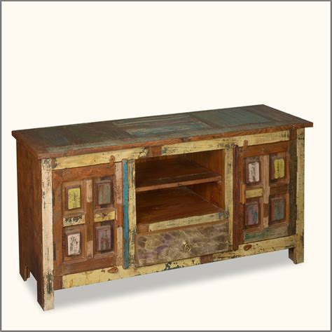 distressed 60 quot reclaimed wood media console storage