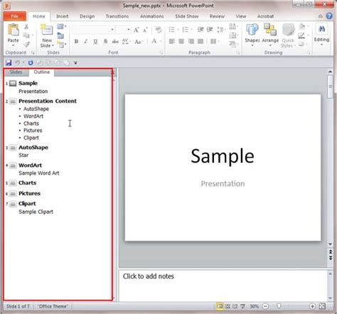 outline view in powerpoint 2010 for windows