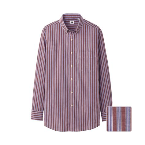 Uniqlo Formal Shirt uniqlo cotton broadcloth stripe sleeve shirt c in purple for lyst