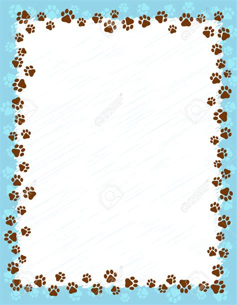 Paw Print Page Border Clip by Blue Paw Print Border Clipart Clipground
