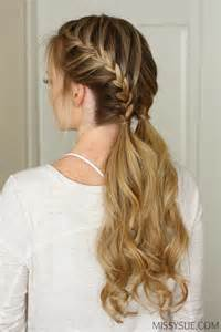 hairstyles to do with plaited extensions double french braid ponytails hair tutorial missy sue