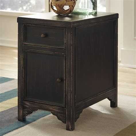 signature design  ashley gavelston distressed chair side  table accent cabinet wayside