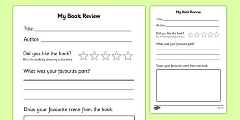 Free Book Review Writing Frame Book Review Book Review Template My Book Critique Template