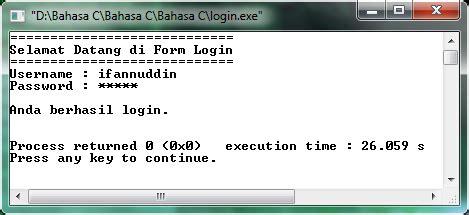membuat form login di c membuat program akses login dengan c