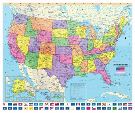 map of the united states poster united states wall map usa poster with us flags rolled paper