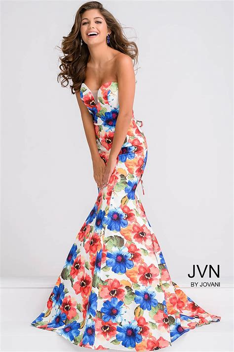 multi color prom dress white and multi floral print mermaid dress with sweetheart