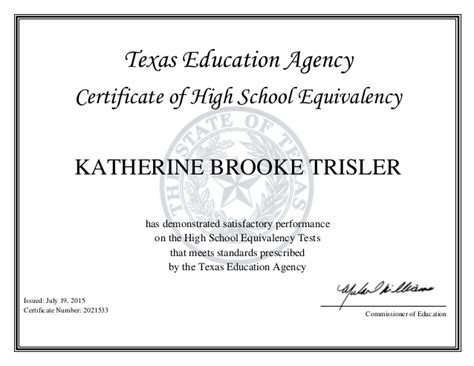 Brooke's GED certificate