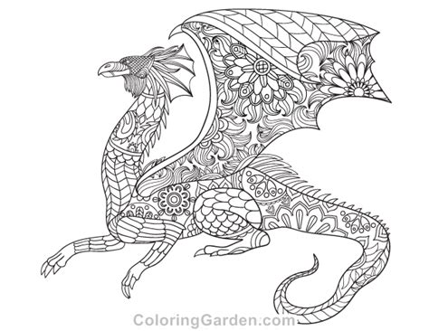 dragon coloring pages for adults pdf dragon adult coloring page