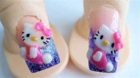 imagenes uñas de hello kitty hello kitty dise 241 o de u 241 as acrilicas 3d relieve glitter