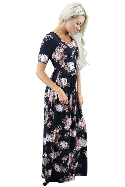 Maxi Miranda miranda modest maxi dress in black floral print
