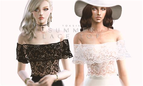 Lace Shirt The Sims 4 | summer lace top by toksik sims 4 nexus