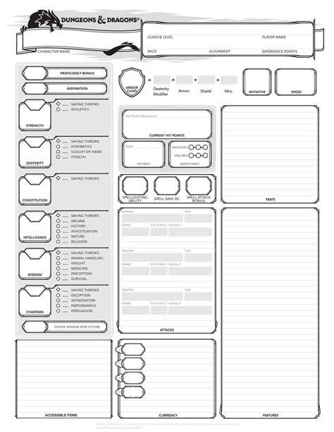Printable Dnd Character Sheet