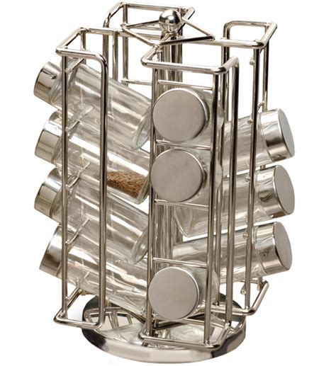 revolving stainless steel spice rack in spice racks
