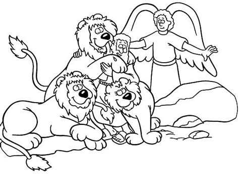 printable coloring pages daniel and the lions den daniel saved from an angel in daniel and the lions den