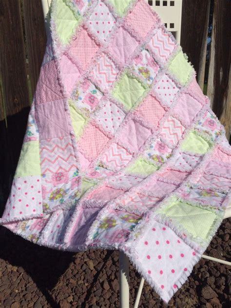 baby rag quilt handmade soft flannels pastel colors pink