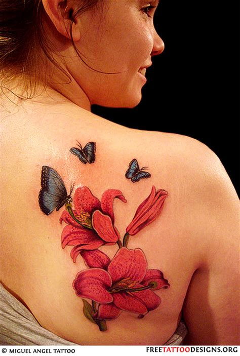 butterfly lily tattoo designs gallery pictures of feminine tattoos