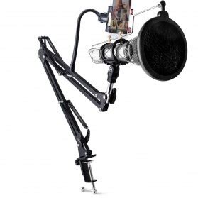 condenser microphone stand holder 360 lazypod with smartphone cl black jakartanotebook