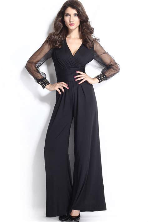 black  neck long sleeve rivet decor sexy jumpsuit  sexy