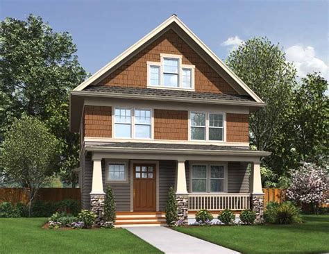 narrow house plans with rear garage narrow lot craftsman